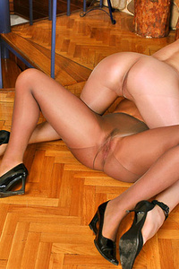 Silky pantyhose dressed on swarthy asses