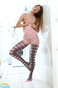 Kinky teen puss in seductive patterned pantyhose